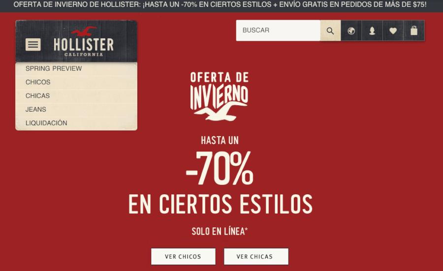 Ejemplo de promoción en Hollister 70% descuento