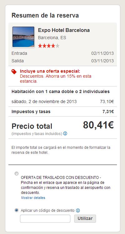 Realización de reserva con codigo descuento Hotels.com