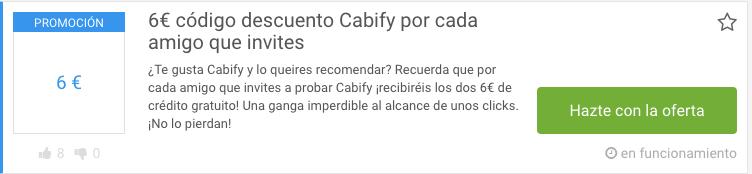 Código descuento Cabify