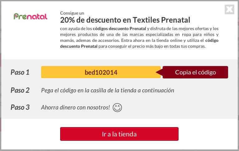 Ejemplo de Código Descuento Prenatal