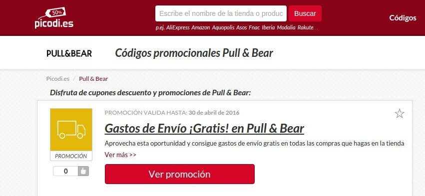 Códigos promocionales Pull and Bear