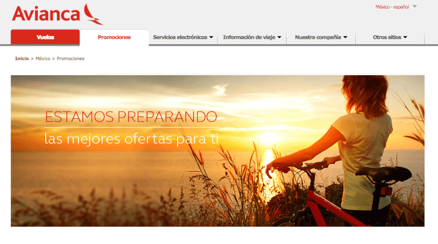 Screen de la home en Avianca