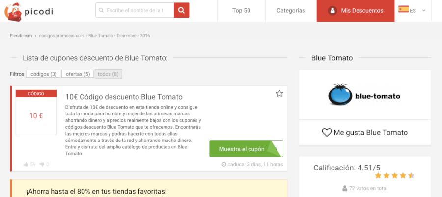 codigos descuento blue tomato