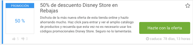 cupon de descuento de la tienda Disney Store