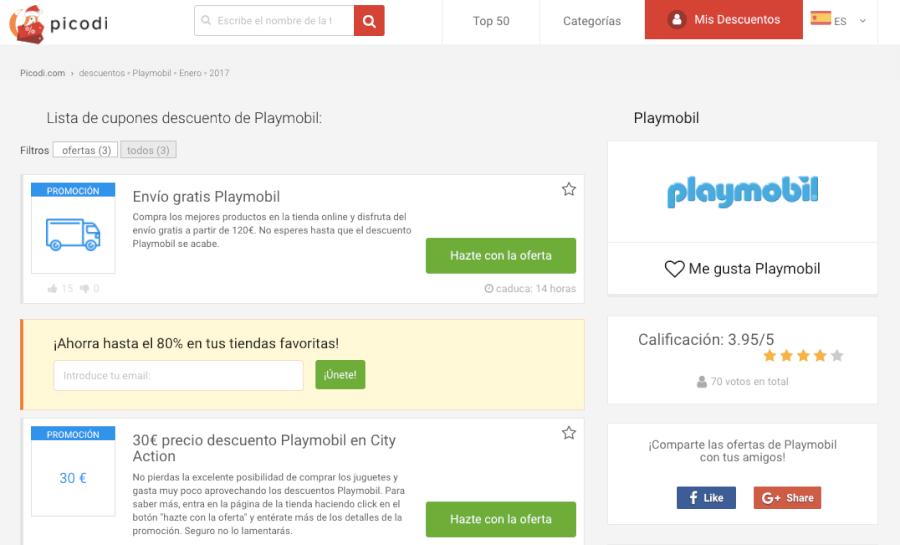 codigos descuento de la tienda online playmobil