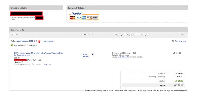 Realización del pedido con codigo promocional Ebay.