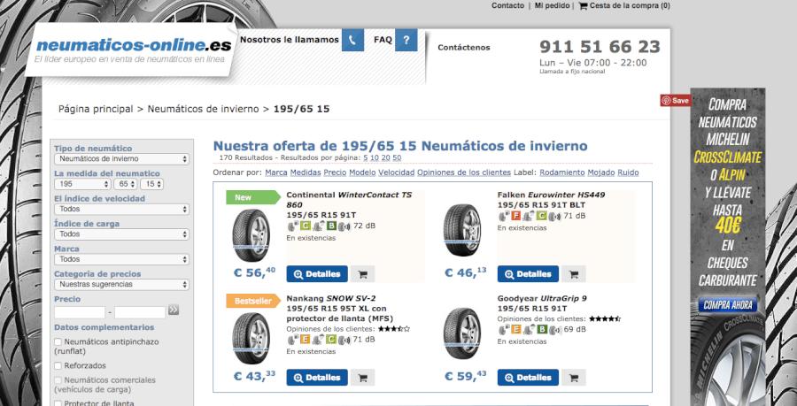 pagina de inicio neumaticos online
