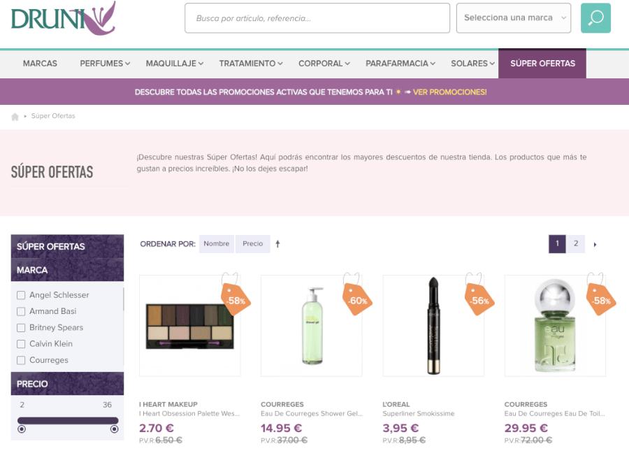 oferta de la perfumería druni