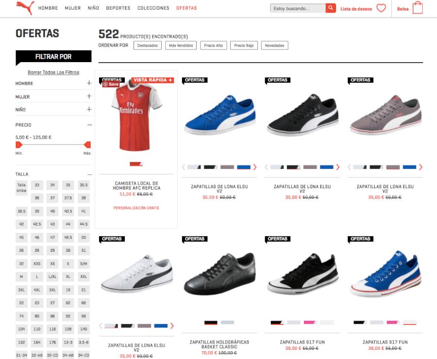 oferta de la tienda online puma