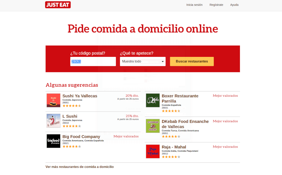 Página principal de Just Eat