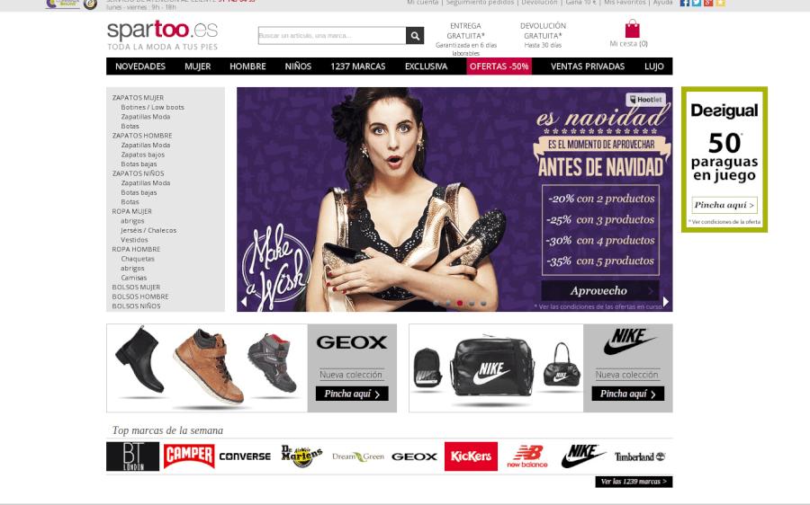 Entra en la página principal de Spartoo y empieza tus compras