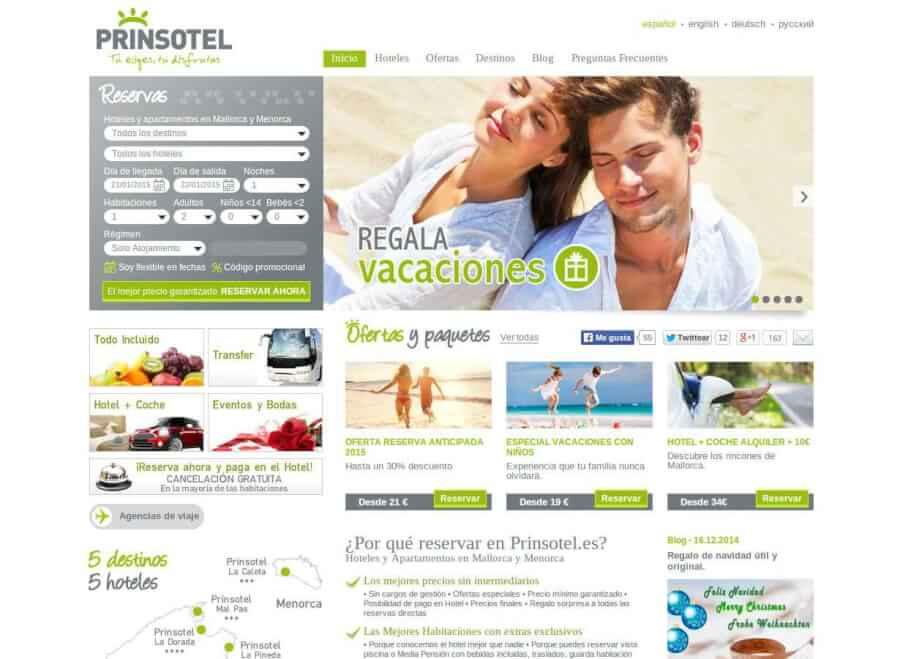 Entra en la página web de Prinsotel y reserva tu estancia