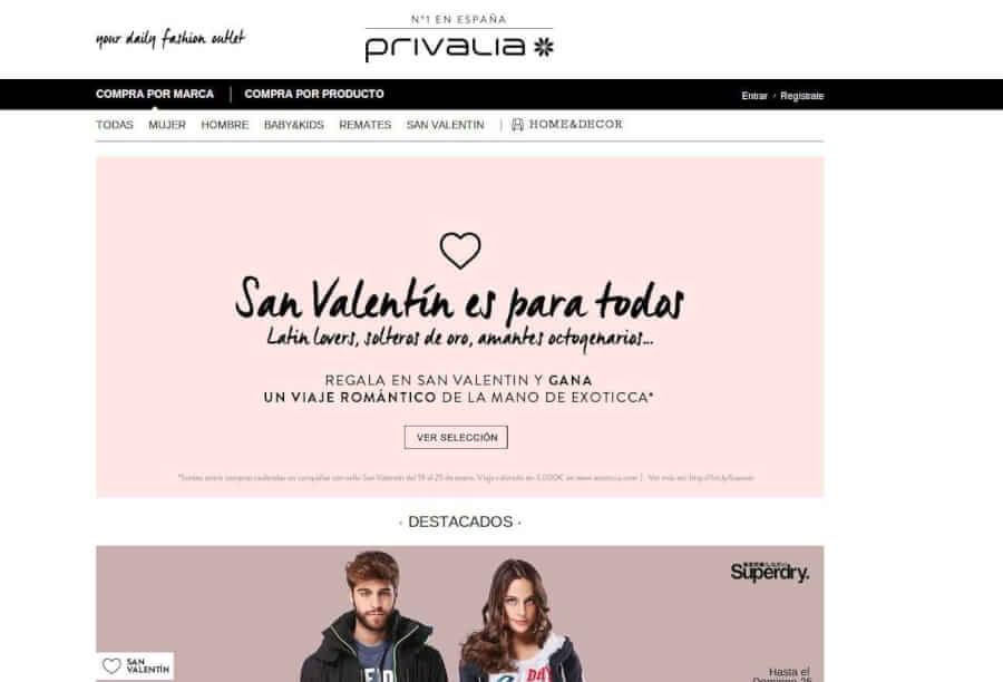 Vista la página de Privalia y aprovecha grandes ahorros