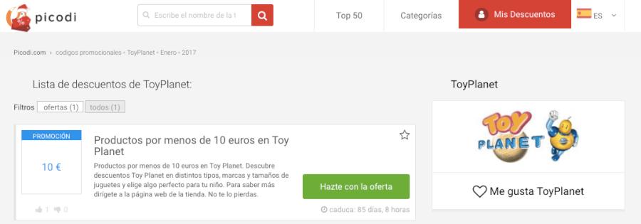 codigos promocionales toyplanet