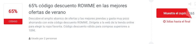 codigo descuento ROMWE