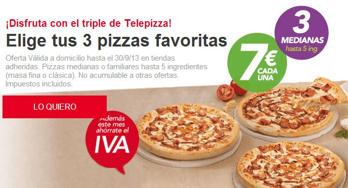 Cupones descuento Telepizza te dan la possibilidad de ahorrar tu dinero