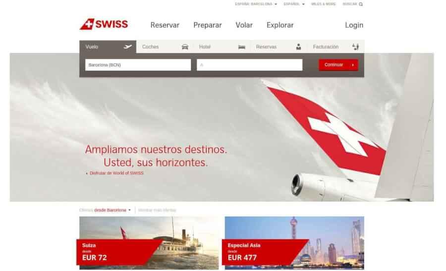 Portal de Reservas de Swiss Airlines