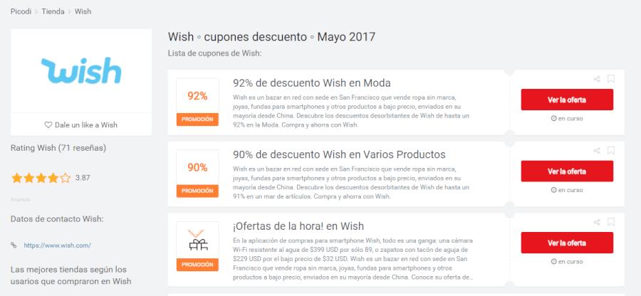 promociones de Wish Usuariocupon