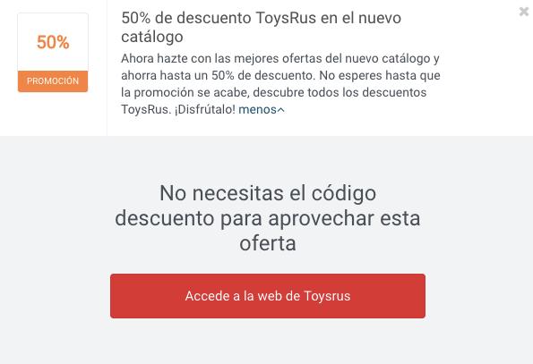 Ejemplo Código Descuento ToysRus